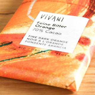 Vivani Zartbitter mit Orange 100 g