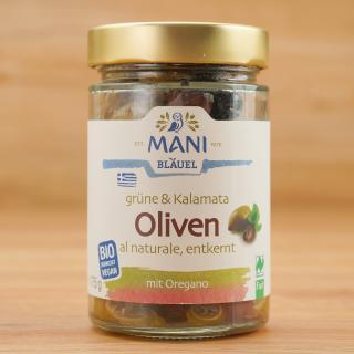 Grüne & Kalamata Oliven al naturale, entkernt